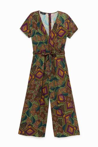 Kombinezon z nadrukiem w geometryczny deseń w stylu afrykańskim