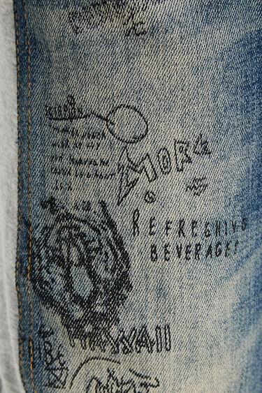 Bimaterial pen effect trousers | Desigual