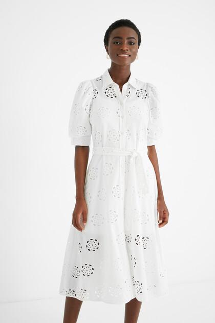 Embroidered Swiss midi-dress