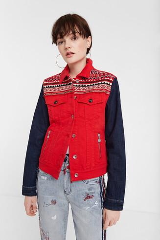 Veste en jean multicolore à frises