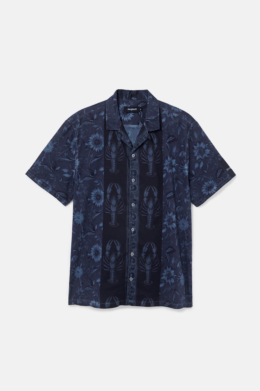 Camisa manga corta flores - BLUE - L