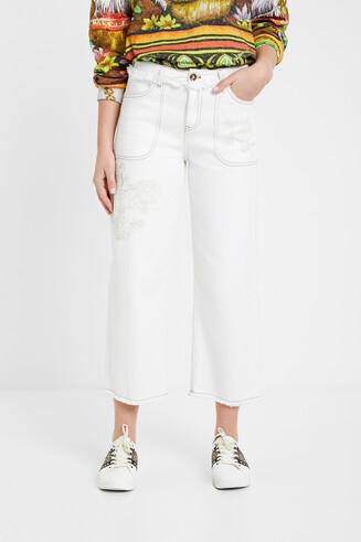 Witte jeans met Japanse print