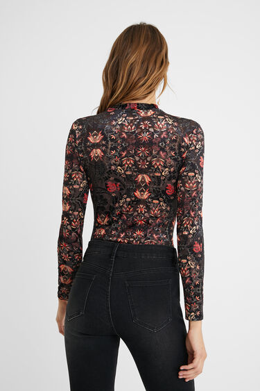 100% Lyocell slim floral bodysuit   Desigual