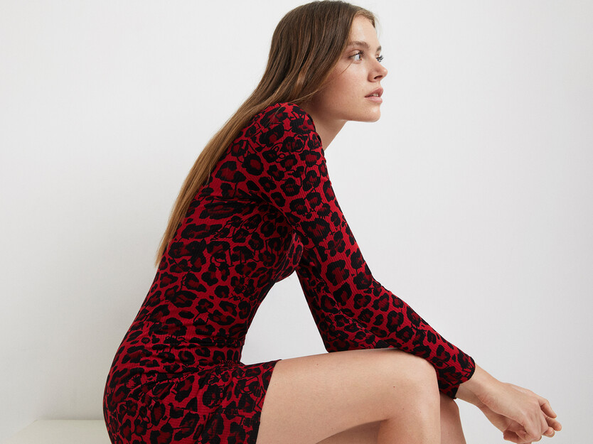 Vestido curto slim leopardo