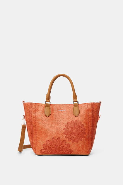 Reptile leather-effect bag