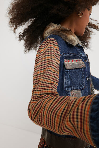 Tartan denim jacket | Desigual