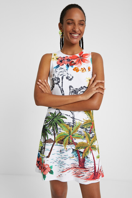 Vestido corto paisaje hawaiano