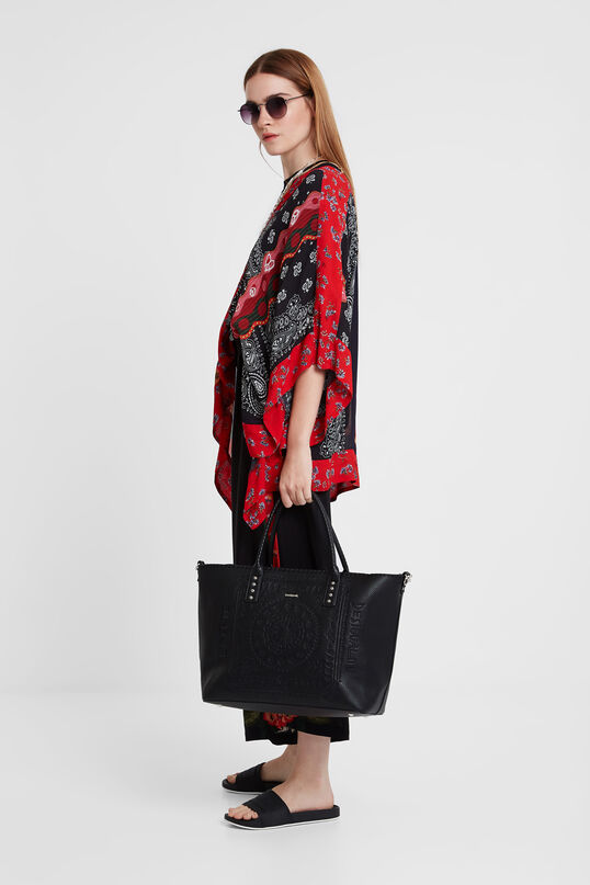 Synthetic leather embossed shopping bag | Desigual
