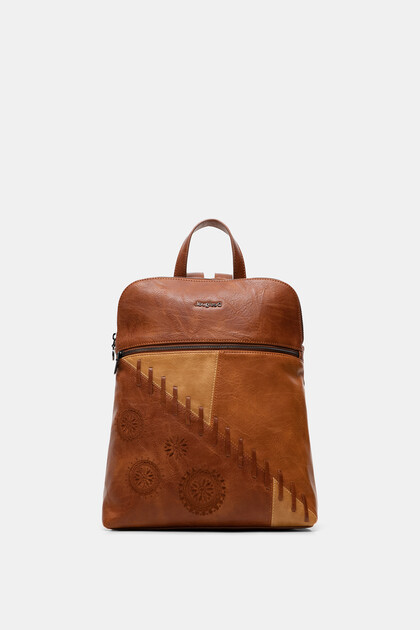 Backpack leather effect mandalas