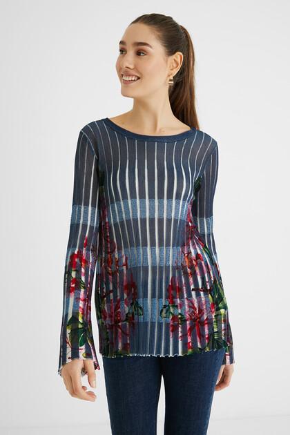 Pleated print jumper