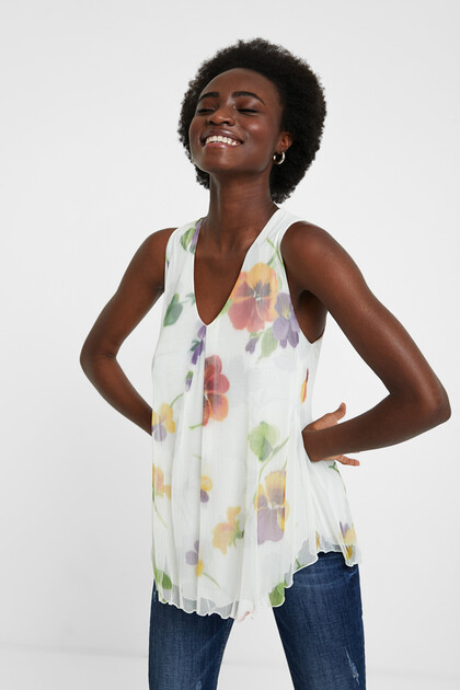 Sleeveless floral T-shirt
