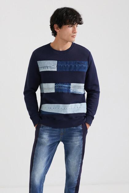 Sweat-shirt coton ouaté patchs en jean