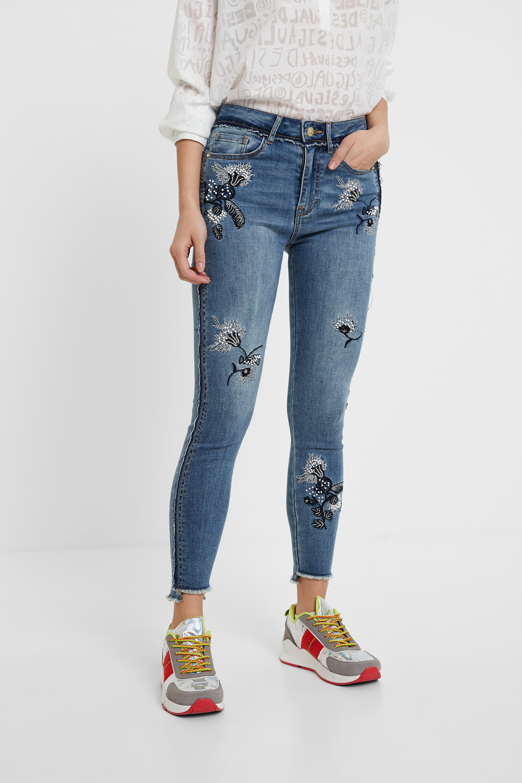 Jeans skinny fiori ricamati | Desigual