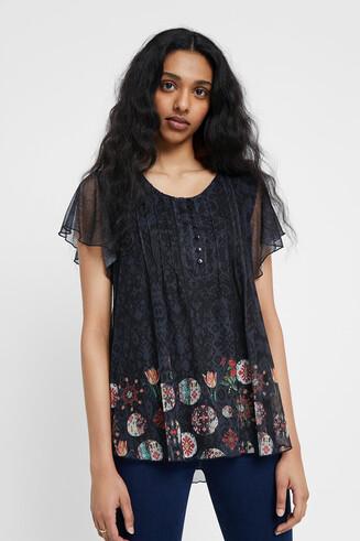 T-shirt boho floral double épaisseur
