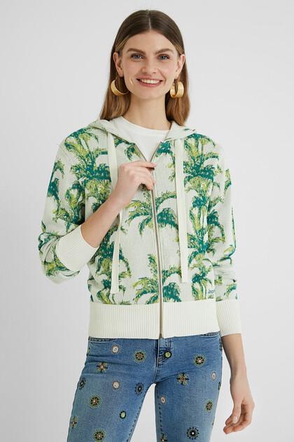 Veste sweat-shirt capuche tropicale