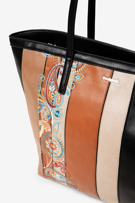 Basket bag with PU leather strips   Desigual