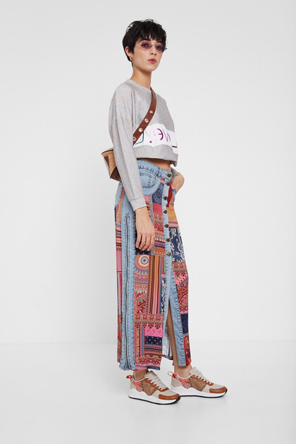Midi skirt transformable denim