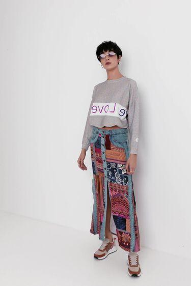 Jupe mi-longue en jean transformable   Desigual
