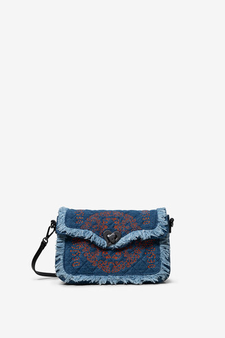 Little denim sling bag with fringe