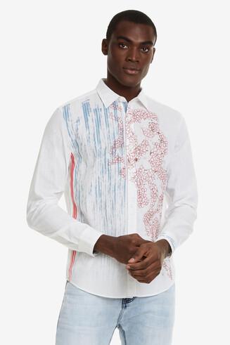 Slim blue and red print shirt Jules