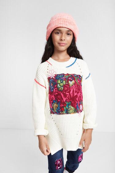 Pull en tricot à empiècement floral | Desigual