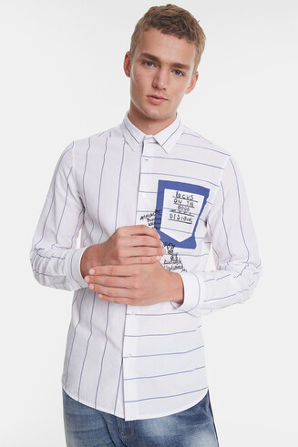 Casual striped shirt with messages