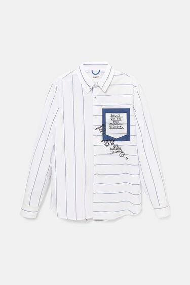 Camisa casual de ratlles amb missatges | Desigual