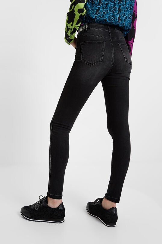 Skinny jeans with side strip and sequin details | Desigual