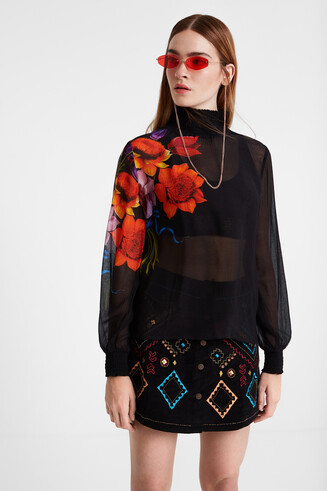 Silk and viscose blouse with elasticated neck and cuffs Designed by M. Christian Lacroix
