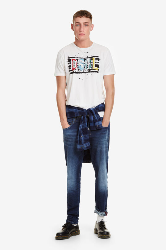 White T-shirt with Letters Dennis   Desigual