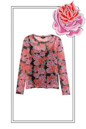 Shirt im Slim Fit mit Blumen