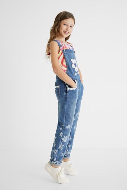 Salopette jeans lunga pizzo