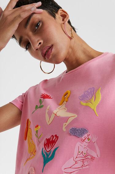Miranda Makaroff 刺繍 オーガニックTシャツ   Desigual