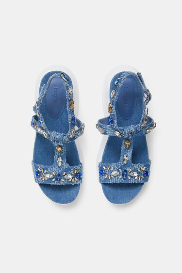 Rubber sole sandals gemstones | Desigual