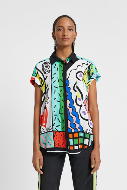 Arty shirt with Hindu illustrations