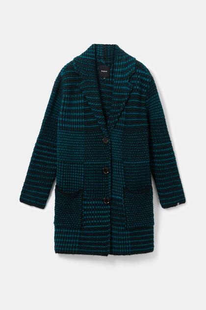 折襟付きメタリックセーター