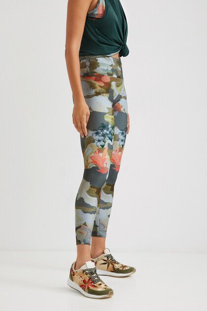Legging print camouflage fleuri