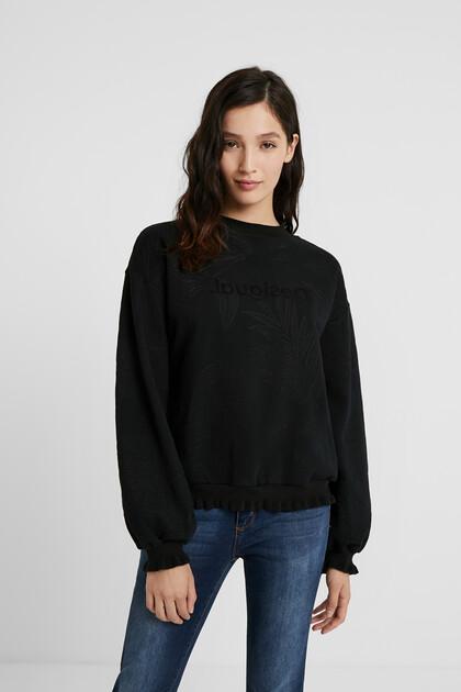 Sweat-shirt coton ouaté broderies