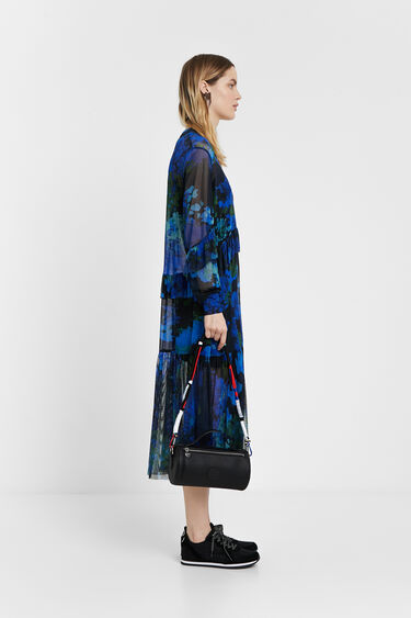 Midi dress of gauze with floral camouflage | Desigual