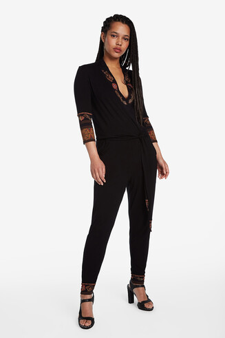 Black jumpsuit with ethnic frieze pattern details