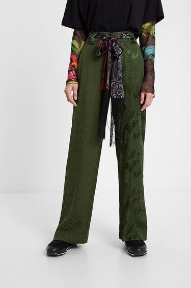 Pantalon jacquard ceinture foulard | Desigual