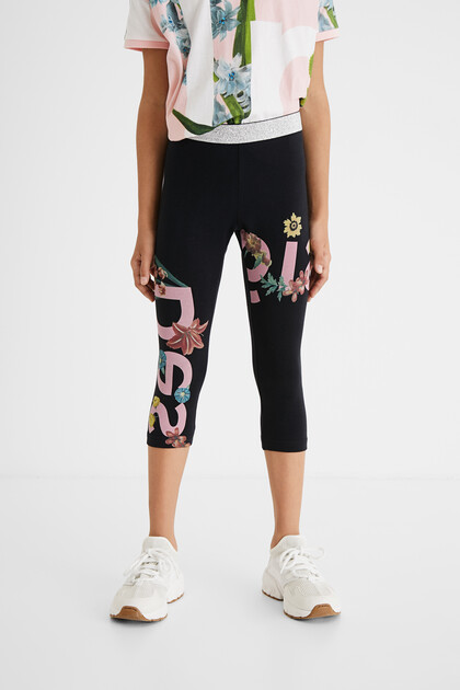 Leggings logo flowers waist glitter