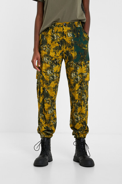 Floral cargo trousers