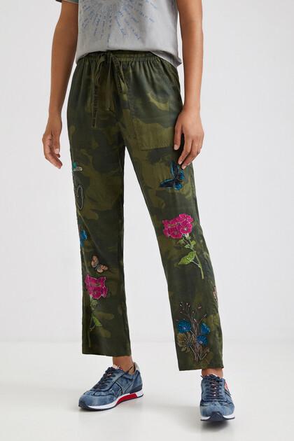 Pantaloni comfort camouflage floreale