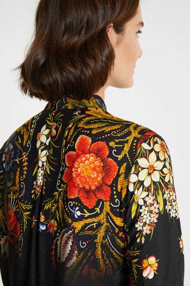 Silk floral blouse with bow | Desigual