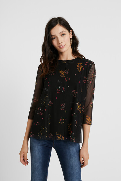 Floral T-shirt tulle sleeves