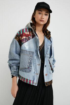 Oversize denim hooded jacket