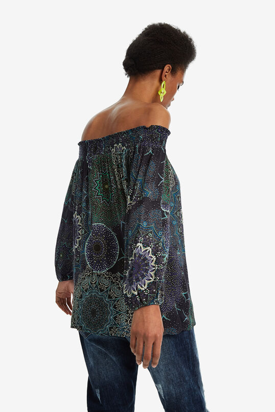 Boat neck galactic print blouse | Desigual