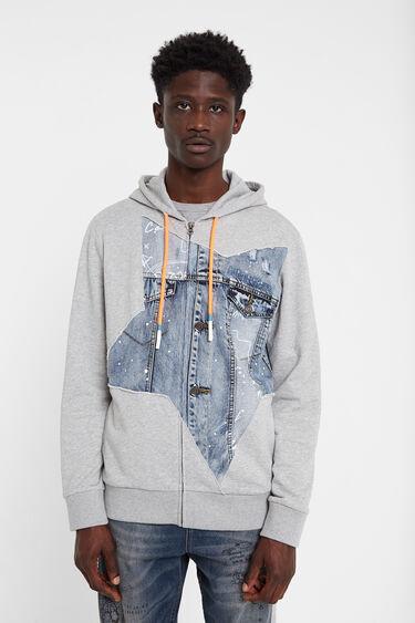 Sweatshirt plush denim patch | Desigual