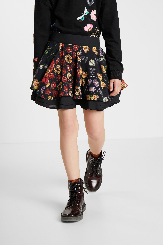 Short skirt flounces flowers - BLACK - 9/10